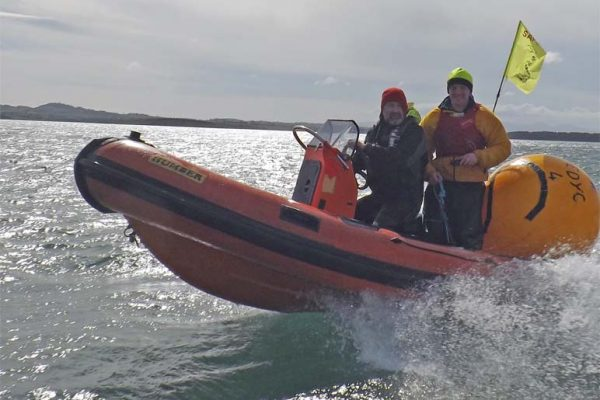 Power Boat being used for Mark Laying